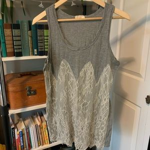 Pins and needles lace tank top